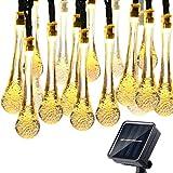 30 LED Ghirlanda Di Luci LED,Gocce D'acqua Impermeabili Catena Luminosa A Energia Solare Per Esterni 6M Bianco Caldo Per Decorazioni Di Natale, Giardino, Patio, Feste, Matrimoni
