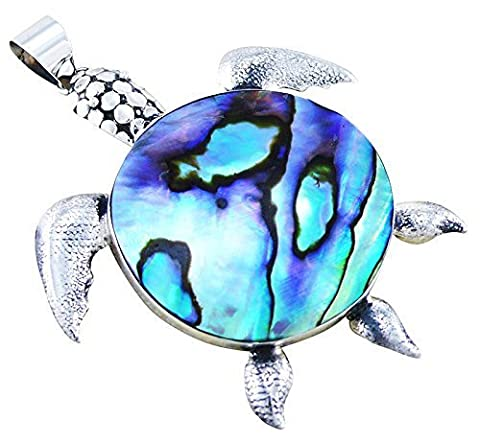 Abalone Paua Shell & 925 Sterling Silver Turtle Pendant