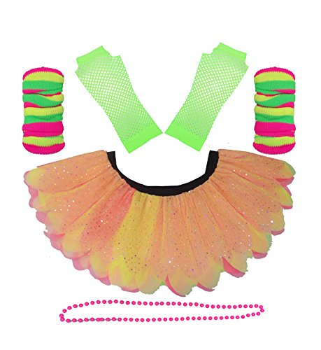 Neon 5 Layer Petal Diamante Tutu Skirt Set with Green Gloves - Standard or Plus Size