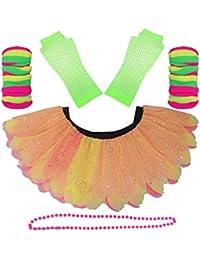 Honey B's Neon 5 Layer Petal Diamante Princess Tutu Skirt Set Pink Green Fancy Dress (Plus Size, With Green Gloves)