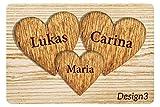 Personalisierte Fußmatte für Verliebte und Familie, mit Holz-Herzen-Motiv mit Namen bedruckt (3, Hellbraun)