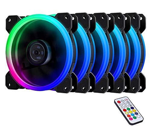 EZDIY-FAB RGB LED Gehäuselüfter 120mm High Airflow Lüfter 5er-Pack mit Controller und Hub -