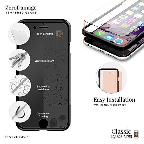 Coque iPhone 7 Plus, (Rose Gold) Inspire SaharaCase® + [film protecteur ZeroDamage en verre trempé] kit de protection accompagné d'un et d'une protection de saisie antidérapante [antichocs] avec une c Blanc