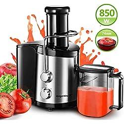 Aigostar MyFrappe Black 30IMX - 850W extracteur centrifugeuse de jus de fruits et légumes frais 100% sans BPA. 2 vitesses et jarre de 1,25 litres. En acier inoxydable de type 304. Design exclusif.(1)