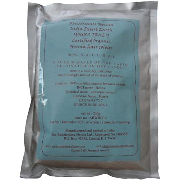 Tinte orgánico para cabello de henna 200 g: Amazon.es: Belleza