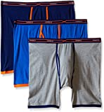 Hanes Red Label Men's 3-Pack FreshIQ X-Temp Active Cool Long Leg Boxer Brief, Assorted, Large