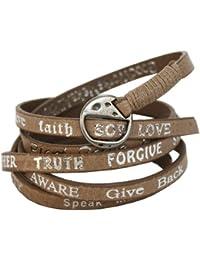 Good Works Bracelet en cuir Taupe/inscriptions argentées