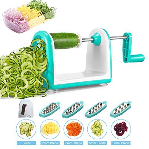 iNeibo 5in1 Spiralschneider Gemüseschneider mit 5 Edelstahlklingen und Auffangschale