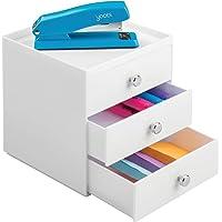 mDesign boite de rangement a tiroir – organiseur de bureau 3 tiroirs – trieur de bureau pratique pour un espace de…