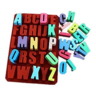 Allforhome 26 Cavities Alphabet Silicone Cake Baking Mold Cake Pan Muffin Cups Handmade Soap Moulds Biscuit Chocolate Ice Cube Tray DIY Mold