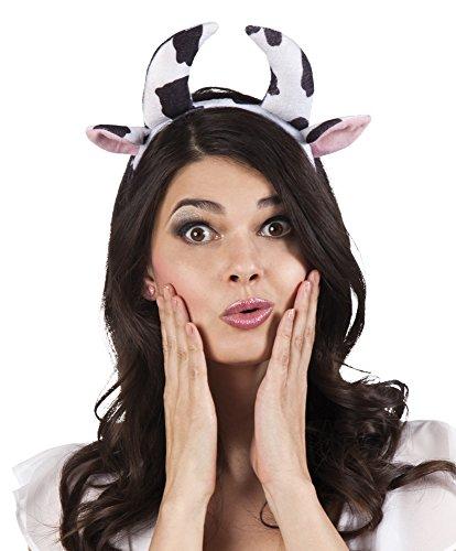 erdbeerclown- Haarreif Kuh Hörner Ohren Kostüm, (Ohren Und Nase Kostüm Hund)