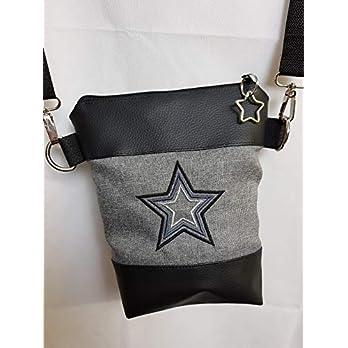 Handtasche Stern Umhängetasche Tasche Glitzer Bag schwarz mit Anhänger Stern Vintage Stil Geschenkidee