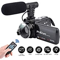 Video Camera Camcorder 3.0 Inch IPS Touch screen FHD 1080P Vlogging Camera with Flash, 24MP Digital Camcorder with External Microphone Speaker 16X Digital Zoom Camera