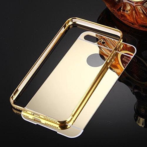 BING Für iPhone 7 Plus Trennbarer galvanisierender Spiegel Push Pull PC Schutzhülle Back Shell Cover + Metal Stoßfänger BING ( Color : Rose Gold ) Gold
