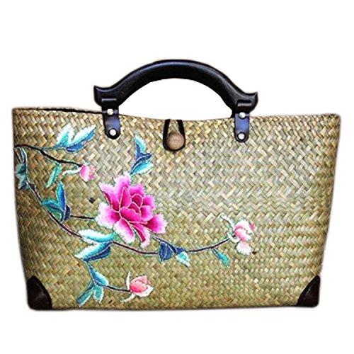 broderie à la main en tricot / armure toile de sac à main de bambou rotin paille / sacoche / Sacs portés épaule / Sacs portés main pattern 8 type jaune
