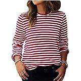 Dihope Damen Streifen Langarmshirt Retro Basic Shirt Casual Herbst Pullover