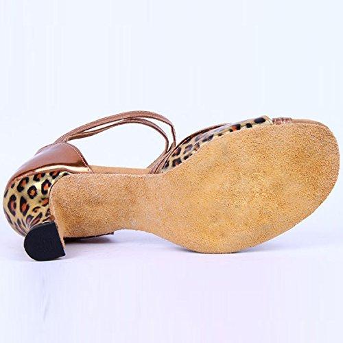 Oasap Women's Open Toe Leopard Buckle Strap Medium Heels Dance Shoes Brown
