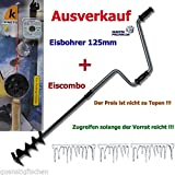 Eisbohrer 125 mm mit Eisangel Combo Eisangeln Eisangelzubehör Eisangelprodukte