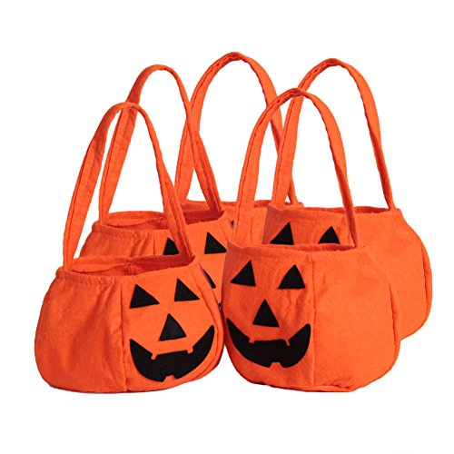 ZOEREA 5 tlg Halloween Kürbis-Tasche Kids Candy Bag für Halloween-Party (Kids Party Halloween)