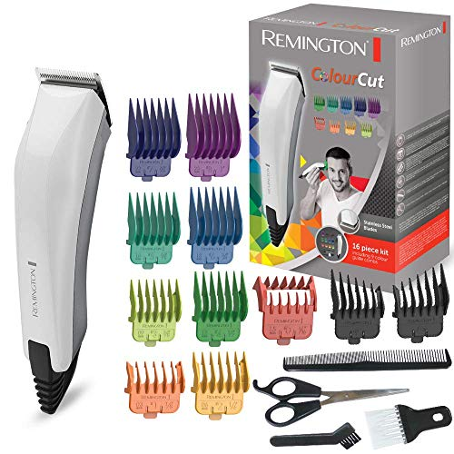 Remington ColourCut HC5035 - Máquina de cortar pelo con cable, 16 Accesorios, Acero Inoxidable, Blanco...