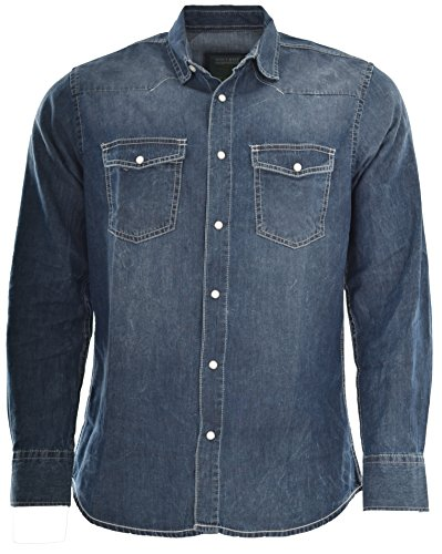 Attire Herren Jeans Hemd Freizeit Denim Langarm Jeanshemd Shirt Regular Fit (L, Dark Blue)