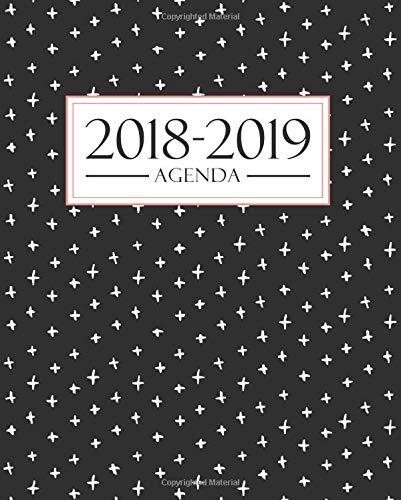 Agenda 2018-2019: 19x23cm : Agenda 2018 2019 semainier : 1 septembre 2018 au 31 août 2019 : Motif noir, blanc et corail par Papeterie Bleue
