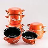BCSA 542936 Marmites à Moules Acier Orange 18 cm