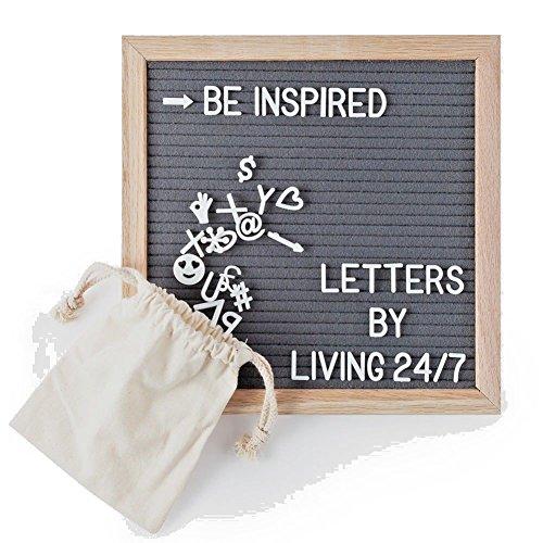 EDOU Kit von Brief Board Felt 340 White Buchstaben Zeichen + A Grey 10x10 Holz Eiche Frame Message Board Bulletin veränderbarer Brief für Familie Dekoration Geschenk Ideal