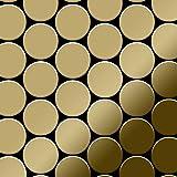 Azulejo mosaico de metal sólido Titanio Gold espejo oro 1,6 mm de grosor ALLOY Medallion-Ti-GM 0,73 m2