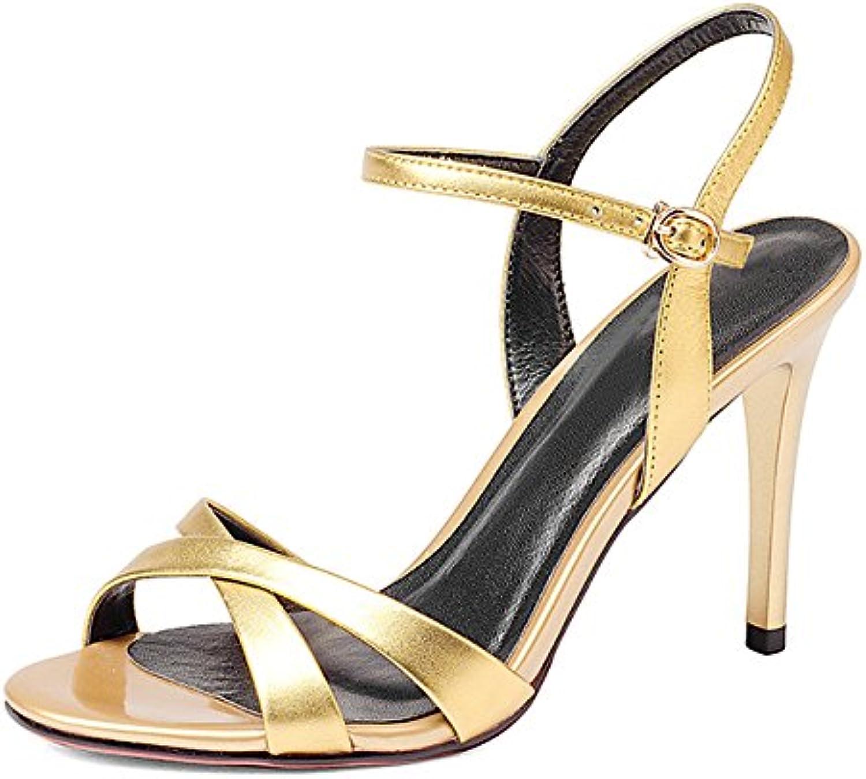 Zapatos De Tacón Alto De Verano De Las Mujeres Sandalias Peep Toe Hebillas Vestido Slingback Zapatos De Corte...