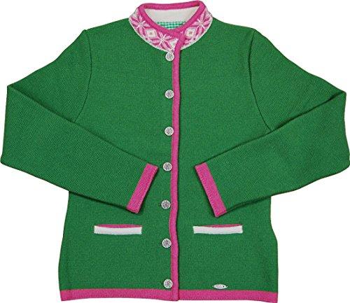 Huber Damen Trachten Merino Strickjacke Lilli in verschiedenen Ausführungen, Größen:44;Farbe:pinie - rosa - natur
