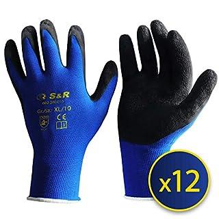S&R Arbeitshandschuhe 12 Paar XL aus NYLON mit LATEX-Beschichtung,