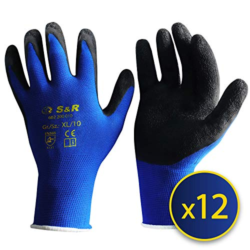 """S&R Arbeitshandschuhe 12 Paar XL aus NYLON mit LATEX-Beschichtung, """"DRIVE-GRIFF®""""-Technologie Schutzhandschuhe geeignet für den privaten und gewerblichen Gebrauch (XL/10)"""