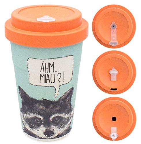 Image of holi. Coffee-To-Go Bambus-Becher mit Schraubdeckel, Verschluss-Möglichkeit | Woodcup Kaffeebecher | Mehrweg-Becher Bamboo-Cup | lebensmittelecht, spülmaschinenfest (Sneaky Raccoon)