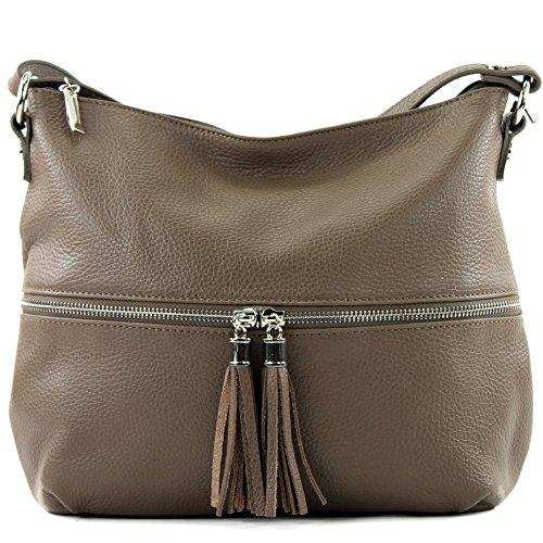 modamoda de - ital. Ledertasche Damentasche Umhängetasche Tasche Schultertasche Leder T159 Schokoladenbraun