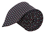 Modo Formal Ties For Men, Geometric Slim Black Tie