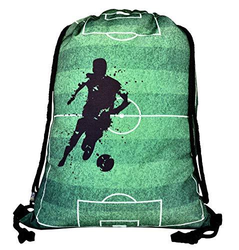 HECKBO® Jungen Mädchen Kinder Turnbeutel - Fussball Soccer Football Motiv - waschmaschinenfest - 40x32cm - Kindergarten, Krippe, Reise, Sporttasche - Rucksack, Tasche, Spieltasche, Fussballtasche