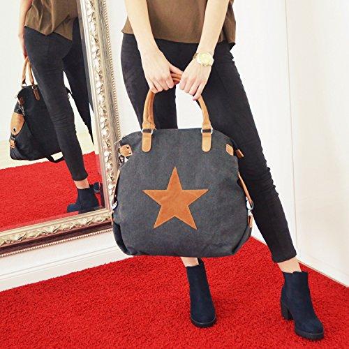 Vain Secrets Sternen Shopper Damen Handtasche mit Schulterriemen Blau