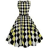 OverDose Damen Urlaub Karneval Schlank Stil Frauen Vintage Floral Bodycon Lässige Abendgesellschaft Prom Maskerade Tanz Unregelmäßigen Swing Dress Dirndl (EU-40/CN-XL, A-Yellow1)