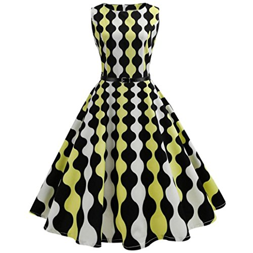 OverDose Damen 50s Retro Schwingen Vintage Rockabilly kleid Faltenrock Partykleider Cocktailkleider (A-Yellow ,EU-40/CN-XL) (Kleid Satin Plissee)