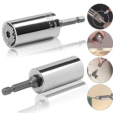 PYHOT 2pcs 7-19mm Gator Socket Adapter Universal Grip Ratchet Wrench Power Drill Adapter Screwdriver Set