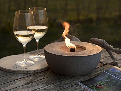 Beske-Betonfeuer mit \'Dauerdocht\' | Durchmesser 24cm | Wiederbefüllbare Gartenfackel | \'Unendliche\' Brenndauer durch umweltfreundliches Recycling von Kerzenwachs