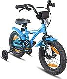 Prometheus Bicicleta Infantil | 14 Pulgadas | niño y niña | Azul Negro | A Partir de 4 años | con ruedines y Freno de contrapedal | 14' Modelo BMX 2019