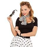con Gafas de Sol, Pendientes y pañuelo para el Cuello Set Disfraz Rockabilly Outfit Rock and Rock Complemento Ropa Mujer Traje años 50 60 Accesorio Disfraz sesentero