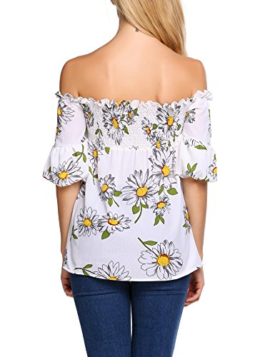 Finejo Damen Chiffon Schulterfrei T-shirt Sommer Fledermaus Batwing Shirts Bluse Hemd Oberteil Tunika Strand Party Tops Floral-Weiß