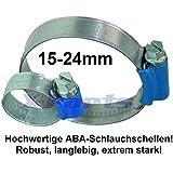 ABA Manguera Abrazadera abrazadera de tubo 15–24mm Abrazadera Estable Manguera resistente
