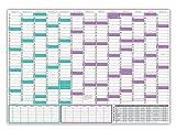 Schuljahreskalender 2017/18 - trocken abwischbar - DIN B1 Format (1000 x 700mm), August 2017 bis August 2018 Wandkalender für Schüler und Lehrer Jahresplaner Schülerkalender Lehrerkalender