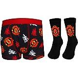 Manchester United FC Official Football Gift Set Boys Socks & Boxer Shorts