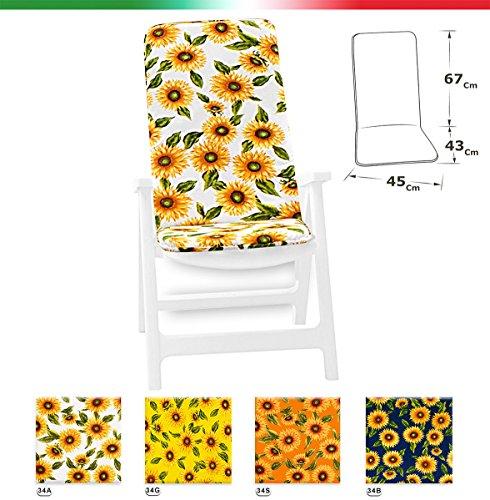 Cuscino copri sedia universale morbido girasoli seduta poltrona sdraio tessuto cotone per piscina mare giardino mod.ibiza bianco (34a)