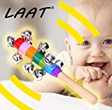 LAAT 1PC Baby Tambourine Musical Instrument Baby Music Toy Wood Rainbow Colorful Rattle Shaker Toy Educational Toy for Kid Baby 18cm-Random Color